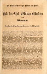 Cover of: Rede des Ehrb. William Windom von Minnesota