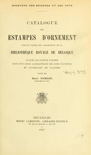 Cover of: Catalogue des estampes d'ornement