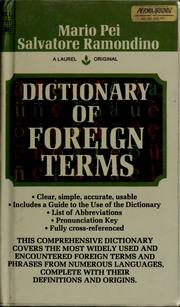 Cover of: Dictionary of foreign terms