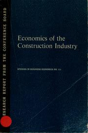 Cover of: Economics of the construction industry