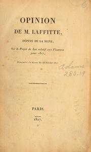 Cover of: Opinion de M. Laffitte ...