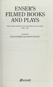Cover of: Enser's filmed books and plays