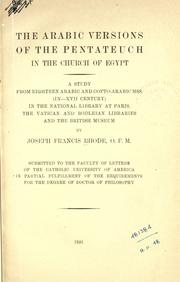 Cover of: The Arabic versions of the Pentateuch in the church of Egypt