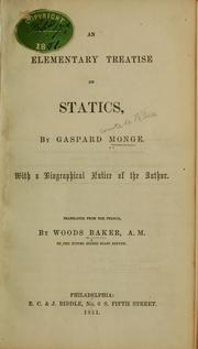 Cover of: An elementary treatise on statics