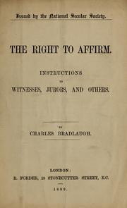 Cover of: The right to affirm
