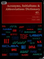 Cover of: Acronyms, intialisms and abbreviations dictionary | Kristin Mallegg