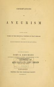Cover of: Observations on aneurism