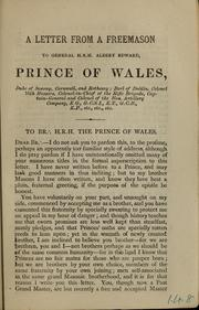 A letter from a freemason to General H.R.H. Albert Edward, Prince of Wales ...