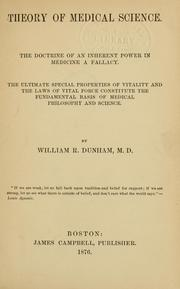Cover of: Theory of medical science