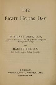 Cover of: The eight hours day by Sidney Webb