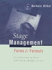 Stage management forms & formats by Barbara Dilker
