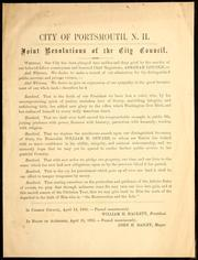 Cover of: Joint resolutions of the City Council | Portsmouth (N.H.). City Council