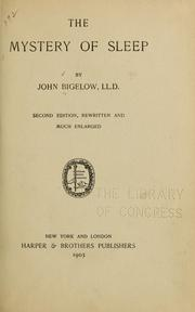 Cover of: The mystery of sleep | Bigelow, John