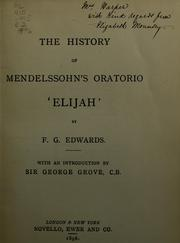 "Cover of: The history of Mendelssohn's oratorio ""Elijah"""
