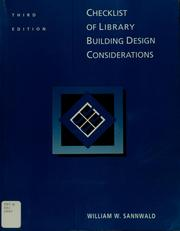 Cover of: Checklist of library building design considerations | William W. Sannwald