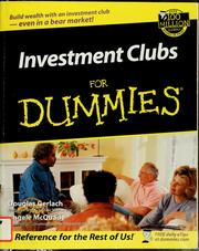 Cover of: Investment clubs for dummies