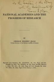 Cover of: National academies and the progress of research | George Ellery Hale