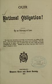 Cover of: Our national obligation |