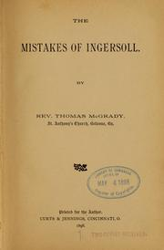 Cover of: The mistakes of Ingersoll