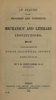 Cover of: An inquiry into the progress and present condition of mechanics' institutions