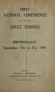 Cover of: First National Conference of Adult Schools |