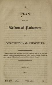 Cover of: A plan for the reform of Parliament on constitutional principles |
