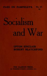 Cover of: Socialism and war | Upton Sinclair