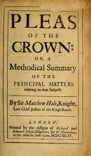 Cover of: Pleas of the crown by Matthew Hale