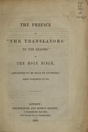 "Cover of: The preface of ""the translators to the reader"" of the Holy Bible"