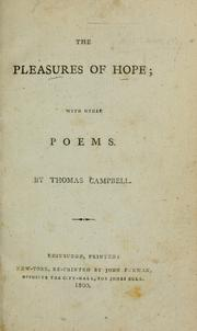 Cover of: The pleasures of hope by Thomas Campbell