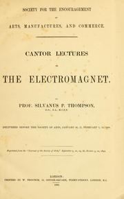 Cover of: Cantor lectures on the electromagnet