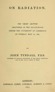 Cover of: On radiation. | John Tyndall