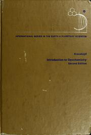 Cover of: Introduction togeochemistry