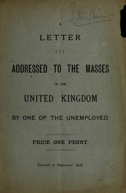 Cover of: A letter addressed to the masses of the United Kingdom |