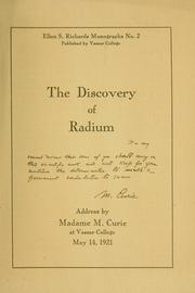 Cover of: The discovery of radium