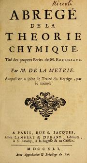 Cover of: Abregé de la theorie chymique