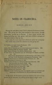 Cover of: Notes on Cladocera