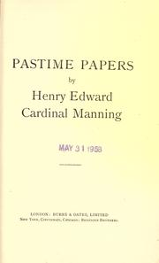 Cover of: Pastime papers | Henry Edward Manning