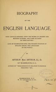 Cover of: Biography of the English language