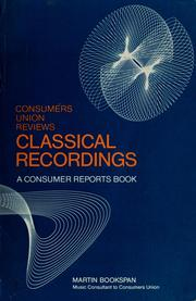 Cover of: Consumers union reviews classical recordings | Martin Bookspan
