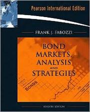 Cover of: Bond Markets, Analysis, and Strategies |