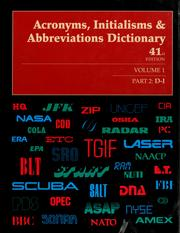 Cover of: Acronyms, initialisms & abbreviations dictionary | Linda Hall