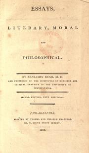 Cover of: Essays, literary, moral and philosophical