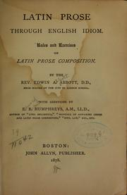 Cover of: Latin prose through English idiom