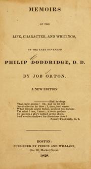 Cover of: Memoirs of the life, character, and writings, of the late reverend Philip Doddridge | Job Orton