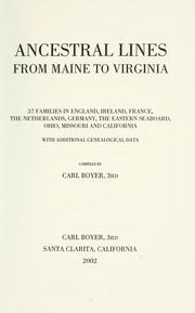 Cover of: Ancestral lines from Maine to Virginia by Carl Boyer