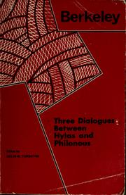 Cover of: Three dialogues between Hylas and Philonous