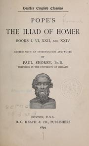 Cover of: Pope's The Iliad of Homer, books I, VI, XXII, and XXIV