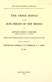 Cover of: The urine dance of the Zuni Indians of New Mexico