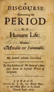 Cover of: A discourse concerning the period of humane life